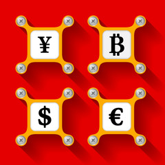 abstract yellow objects and screws and currency symbols