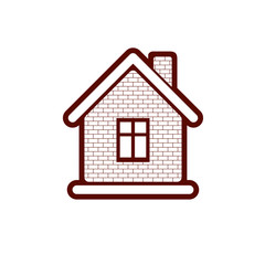 Simple village mansion icon, abstract house depiction. Country h