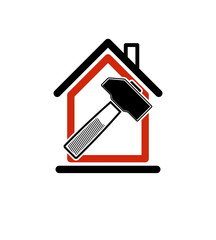 Classic mallet icon, industrial utensil. Simple house with work