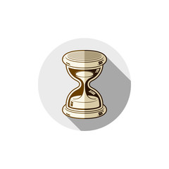 Old-fashioned simple 3d hourglass, time management business icon