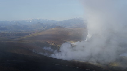 Aerial mineral colours steam venting volcanic thermal Iceland