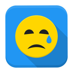 Crying yellow smile app icon with long shadow