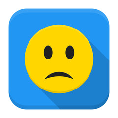 Sad yellow smile app icon with long shadow