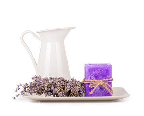 Lavender flowers and lavender candle