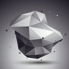3D vector abstract design template, polygonal complicated contra