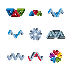 Abstract creative business icons vector collection, abstract sty