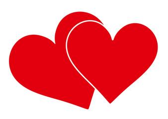Herz, zwei Herzen, Icon, Zeichen, Symbol, Herzform, Form, Heart