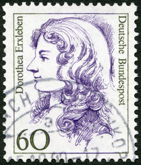 GERMANY - 1987: shows Dorothea Erxleben (1715-1762), physician