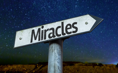 Miracles sign with a beautiful night background