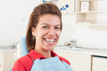 Female patient with big white teeth smiling
