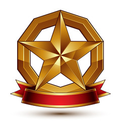 Branded golden symbol with stylized pentagonal glossy star and r