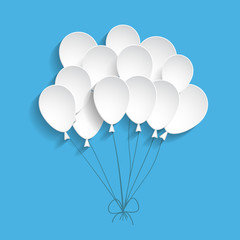 blue background with paper balloons