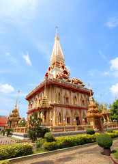 pagoda Wat Chalong temple in Phuket Thailand
