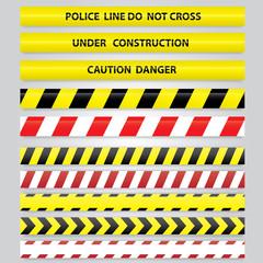 Set of different danger tapes.