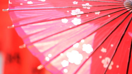 Traditional Japanese Red Paper Parasol Tourism Advertising Outdoors