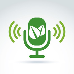 Green leaves and microphone ecological theme icon, vector concep