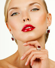 beautiful woman model with professional makeup, in jewelry