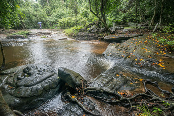 Kbal Spean waterfall national park at Siem Reap Cambodia.