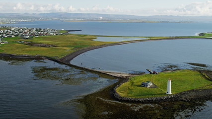 Aerial Reykjavik Iceland capitol buildings natural inlets Grotta lighthouse