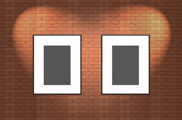 blank photo frame on brick wall