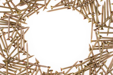 Yellow screws around white background