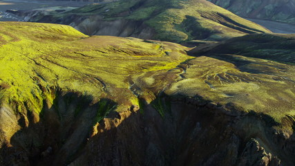 Aerial Landmannalaugar river deltas volcanic region Iceland Europe