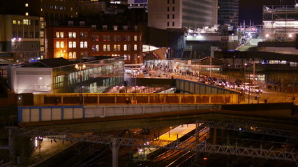 Birmingham cityscape, New Street Station - night.