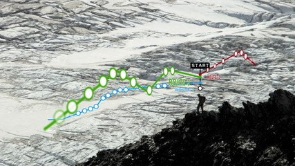 Hiker Climbing Glacier Peaks American Male Descending Distances Routes Apps CG