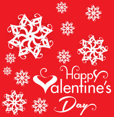 Valentine Day Text Background with Heart & Flower