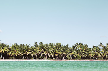 Summer scene with tropical beach and blue sea