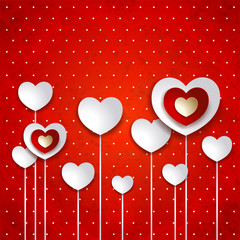 Valentine illustration with hearts on red background