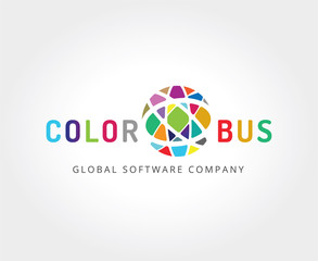 Abstract colored globe logo template for branding and design