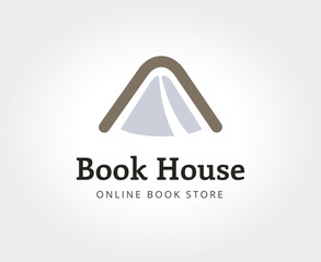 Abstract book house logo template for branding and design