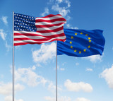 flags of usa and European Union - 76993334