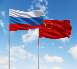 two flags of Russia  and China