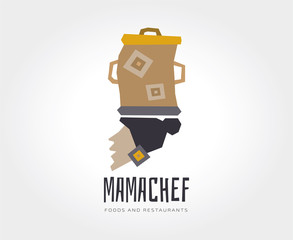 Abstract mama chef vector logo template for branding and design