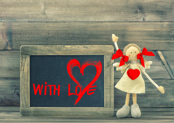 Funny girl with Red Heart. Valentines Day balckboard With Love