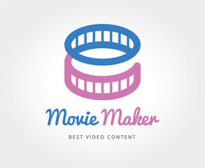 Abstract cinema film vector logo template for branding and