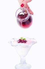 Yoghurt and cranberries