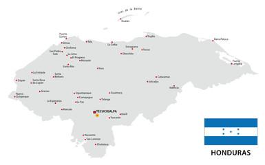 honduras map with flag