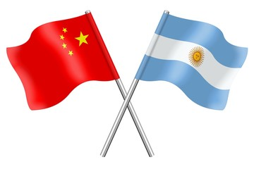 Flags: China and Argentina
