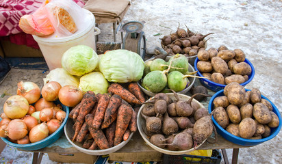 Raw vegetables ready for sale at the local street market in Sama