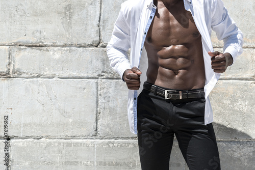 African black man model with six pack white shirt - 76996162