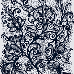 Abstract lace ribbon vertical seamless pattern