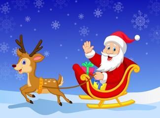 Cartoon Santa in his Christmas sled