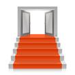 Stair with open doors - 76996738