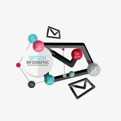 Minimal line design office web infographics