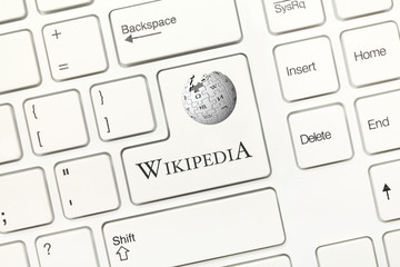White conceptual keyboard - Wikipedia (key with logotype)