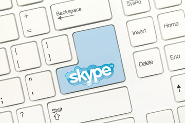 White conceptual keyboard - Skype (with logotype)