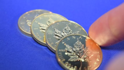 Gold Maple Leaf, Bullion Coin Row, Fingers Cashing In Gold Coins
